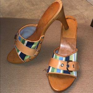COACH wooden sandal slide shoe blue green leather
